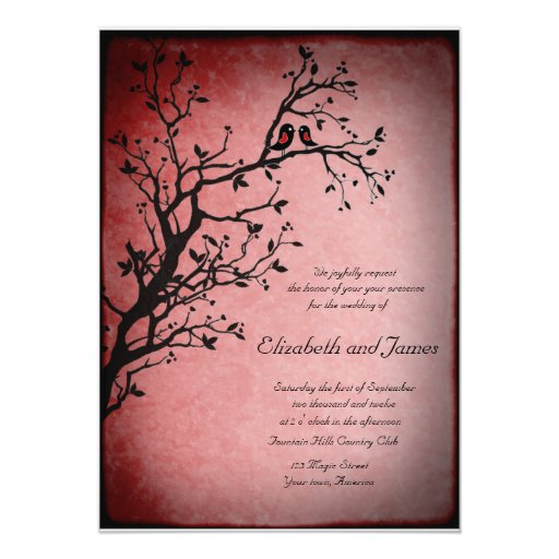"""Lovebirds wedding invitation 5"""" x 7"""" invitation card"""