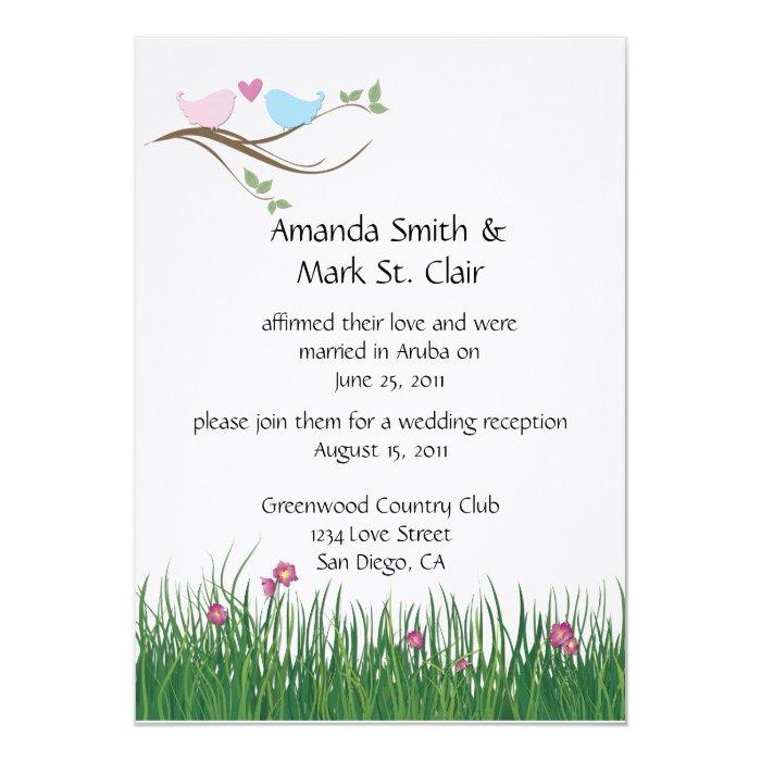 Lovebirds Wedding Reception Invitation