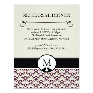 Lovebirds Wedding Rehearsal Dinner Invitations