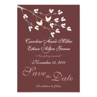 """Lovebirds Wedding Save the Date Announcement 5"""" X 7"""" Invitation Card"""