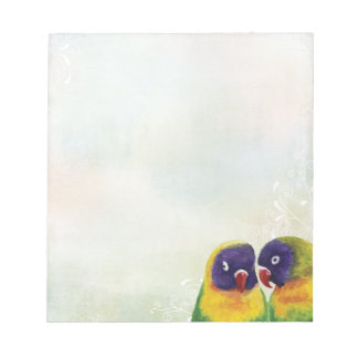 Lovebirds with Swirls & Rainbow Pastels Notepad
