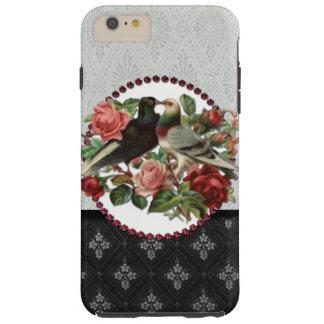 Lovebirds y rosas del vintage funda para iPhone 6 plus tough