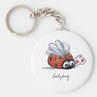 Lovebug de la mariquita llavero redondo tipo pin