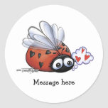 Lovebug de la mariquita pegatinas redondas