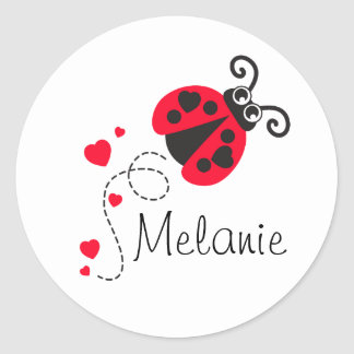 Lovebug ladybug red white name sticker
