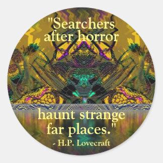 """Lovecraft Quote Fantasy Art Sticker"""" Classic Round Sticker"""