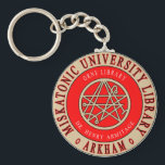 "Lovecraft&#39;s Miskatonic University Library Keychain<br><div class=""desc"">Miskatonic University Library This design is influenced and inspired by the stories of H.P. Lovecraft. Miskatonic University Library, is located in Arkham, Massachusetts. Arkham is the home of Miskatonic University, which figures prominently in many of Lovecraft&#39;s works. Miskatonic University is famous for its collection of occult books. The University Library...</div>"