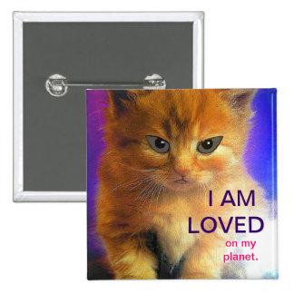 """LOVED"" - Alien Kitten Button"