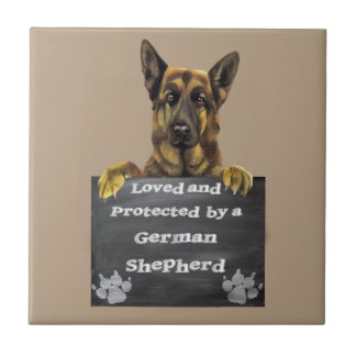 Loved and Protected by a German Shepherd Tile