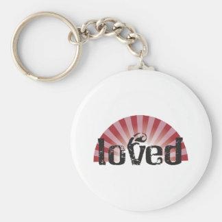 loved basic round button keychain