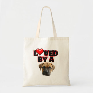 Loved by a Bull Mastiff Tote Bags
