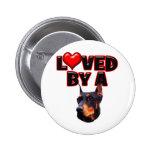 Loved by a Doberman 2 Pinback Buttons