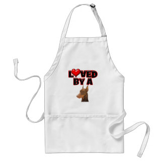 Loved by a Doberman Adult Apron
