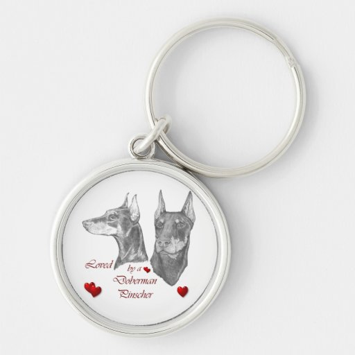 Loved By A Doberman Pinscher Silver-Colored Round Keychain