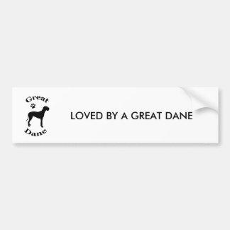 LOVED BY A GREAT DANE bumper sticker