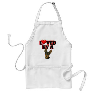 Loved by a Min Pin Adult Apron