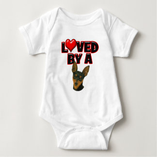 Loved by a Min Pin Baby Bodysuit