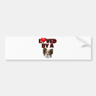 Loved by a Papillon Bumper Sticker