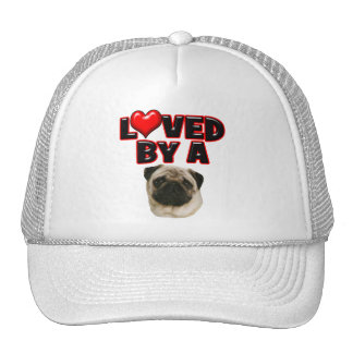 Loved by a Pug Trucker Hats
