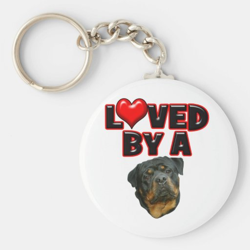 Loved by a Rottweiler 2 Basic Round Button Keychain