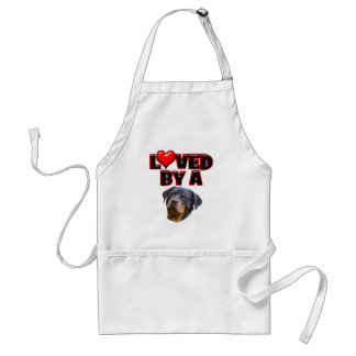 Loved by a Rottweiler 3 Adult Apron
