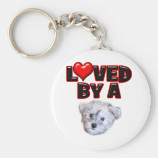 Loved by a Schnoodle Key Chain