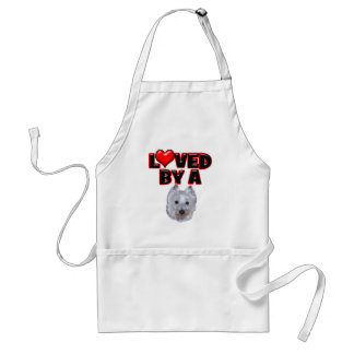 Loved by a Westie Adult Apron