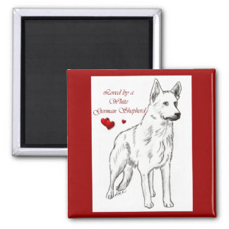 Loved By A White German Shepherd Magnet