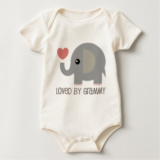 Loved By Grammy Heart Elephant Baby Bodysuit