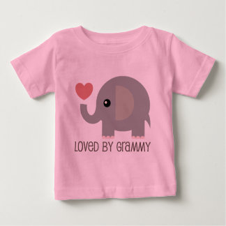 Loved By Grammy Heart Elephant Baby T-Shirt
