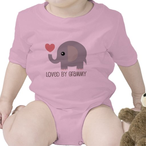 Loved By Grammy Heart Elephant Rompers