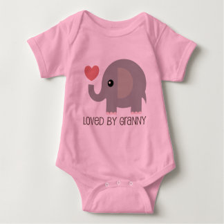 Loved By Granny Heart Elephant Baby Bodysuit
