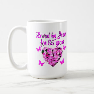 LOVED BY JESUS FOR 85 YEARS FLORAL DESIGN COFFEE MUG