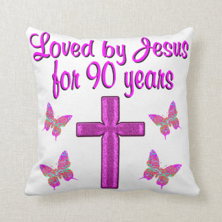 LOVED BY JESUS FOR 90 YEARS PILLOW