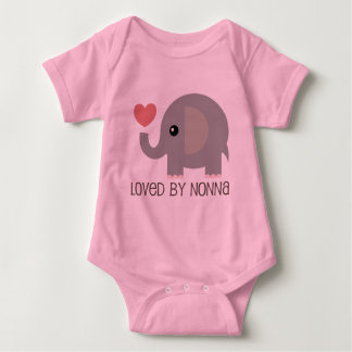 Loved By Nonna Heart Elephant Baby Bodysuit