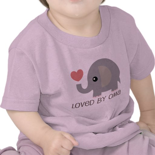 Loved By Oma Heart Elephant T Shirt