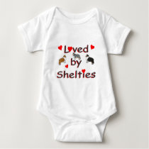 Loved by shelties baby bodysuit