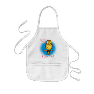 Loved owl with big heart - Apron template