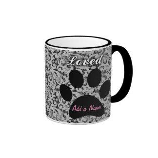 """Loved"" Pet Name Pawprint Memory Ringer Mug"
