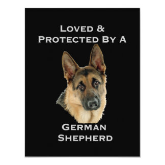Loved & Protected By A German Shepherd 4.25x5.5 Paper Invitation Card