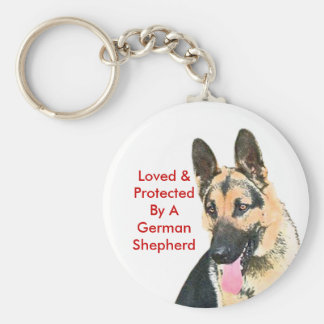 Loved & Protected By A German Shepherd Basic Round Button Keychain