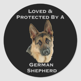 Loved & Protected By A German Shepherd Classic Round Sticker
