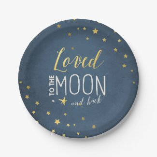 Loved to the moon Paper Plates Baby shower Stars