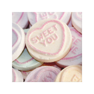 Loveheart sweets photograph canvas
