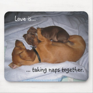loveis, Love is..., ... taking naps together. Mouse Pad
