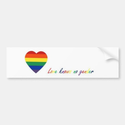 LoveKnowsNoGender(bumpersticker) Bumper Stickers