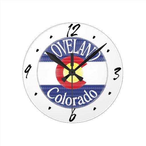 Loveland Colorado circle flag Round Wall Clocks