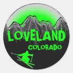 Loveland Colorado green ski stickers