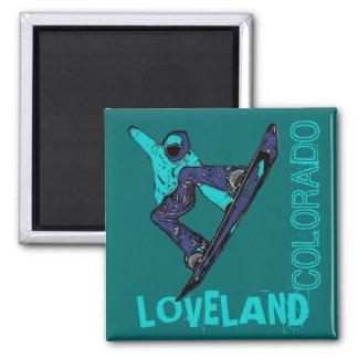 Loveland Colorado teal snowboarder magnet