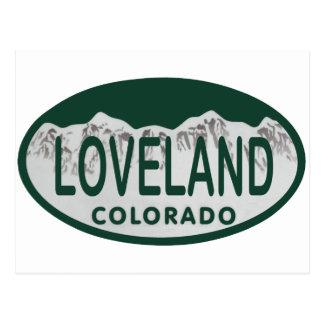 Loveland license oval postcard